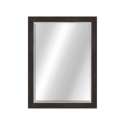 Transitional 22 x 28 Rustic Brown with Silver Framed Vanity Mirror