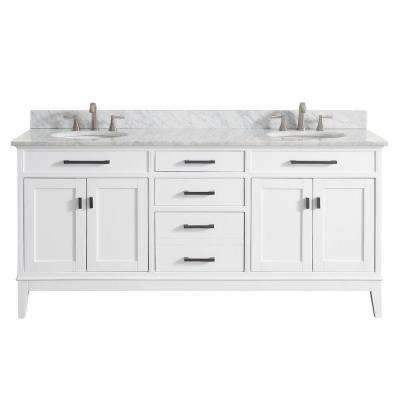 Madison 73 in. W x 22 in. D x 35 in. H Vanity in White with Marble Vanity Top in Carrera White with White Basin