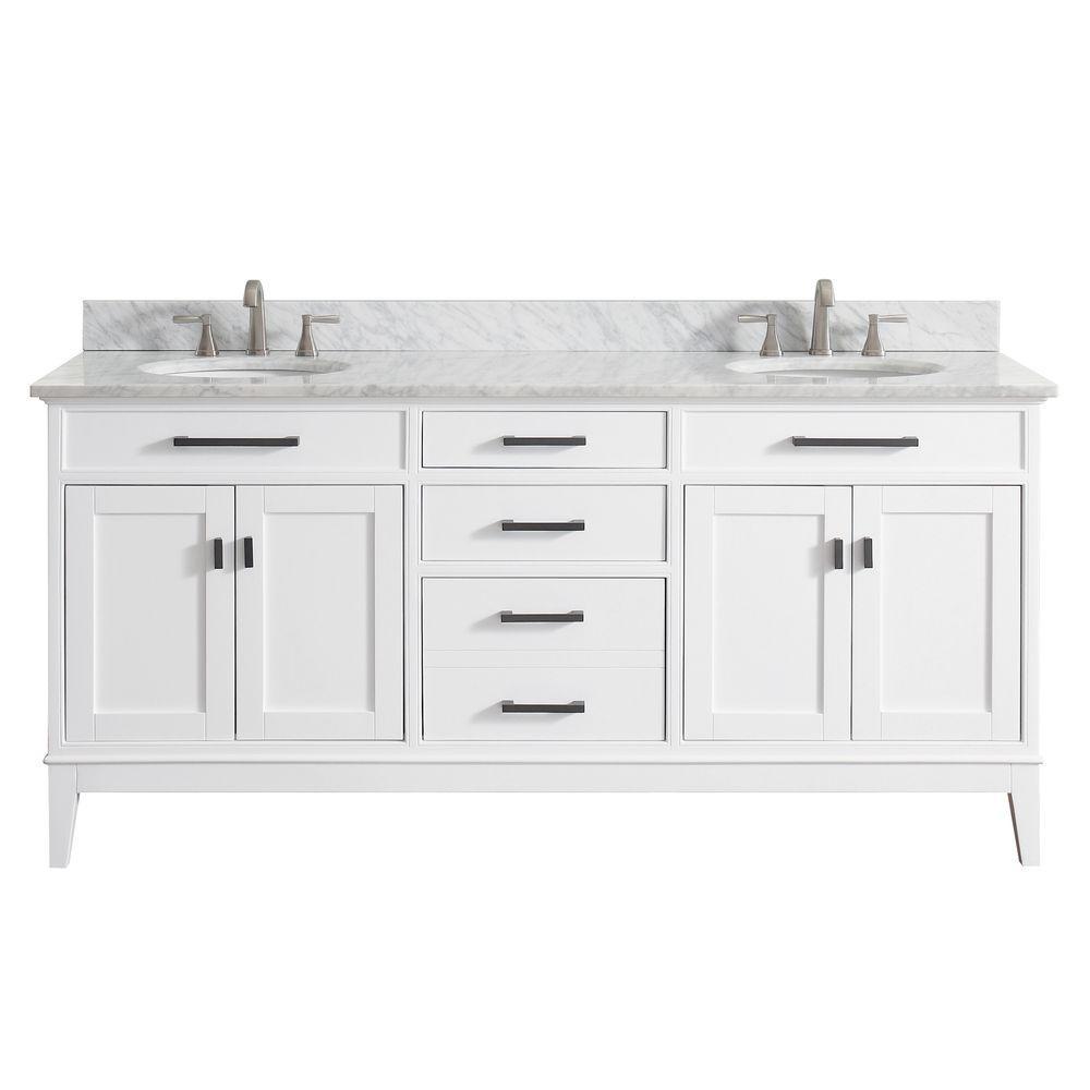 Madison 73 in. W x 22 in. D x 35 in. H Vanity in White with Marble Vanity Top in Carrera White with White Basin