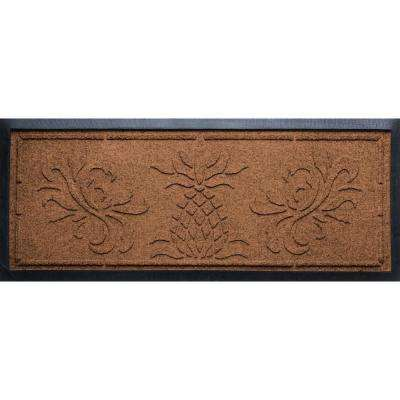 Dark Brown 15 in. x 36 in. x 0.5 in. Pineapple Boot Tray