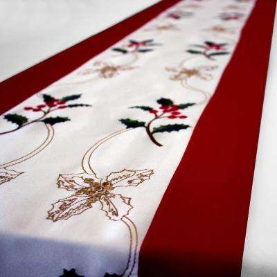 Holiday Embroidered Holly Berries 14 in. x 72 in. Tablecloth Runner with Red Trim Border