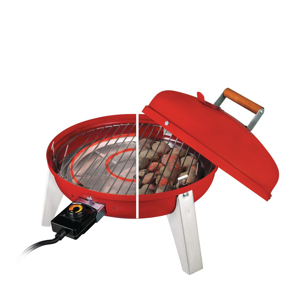 The Wherever Portable Dual Fuel Electric and Charcoal Grill in Red