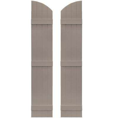 14 in. x 73 in. Board-N-Batten Shutters Pair, 4 Boards Joined with Arch Top #008 Clay