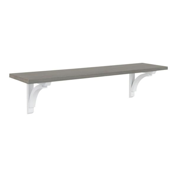 Kate and Laurel Corblynd 8 in. x 36 in. x 9 in. Gray/White Decorative Wall Shelf