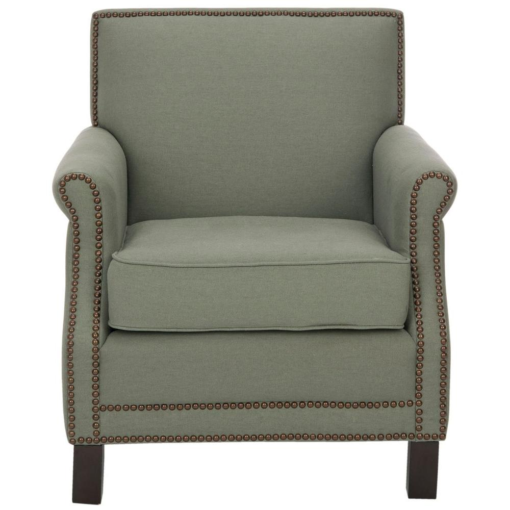 Easton Sea Mist/Java Linen Club Arm Chair
