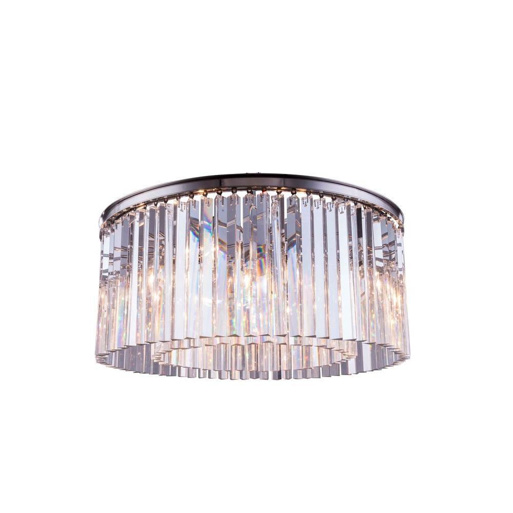 Sydney 8-Light Polished Nickel Flushmount with Clear Crystal