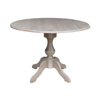 Sophia Weathered Taupe Gray 42 in. Drop-Leaf Solid Wood Table