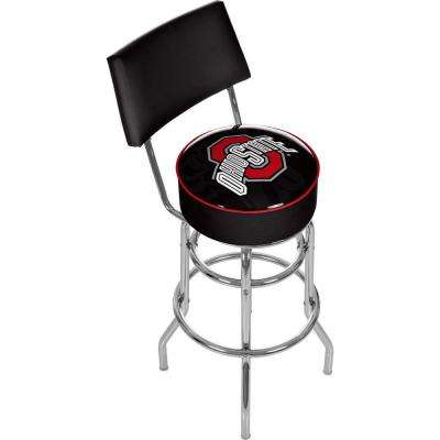 Ohio State Brutus Stripe 31 in. Chrome Padded Swivel Bar Stool