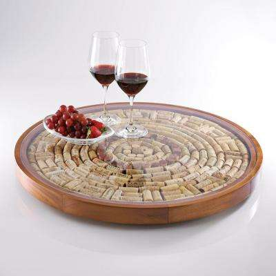 Wine Cork 2-1/2 in. H, 24-1/4 in. Diameter Mahogany Lazy Susan Kit