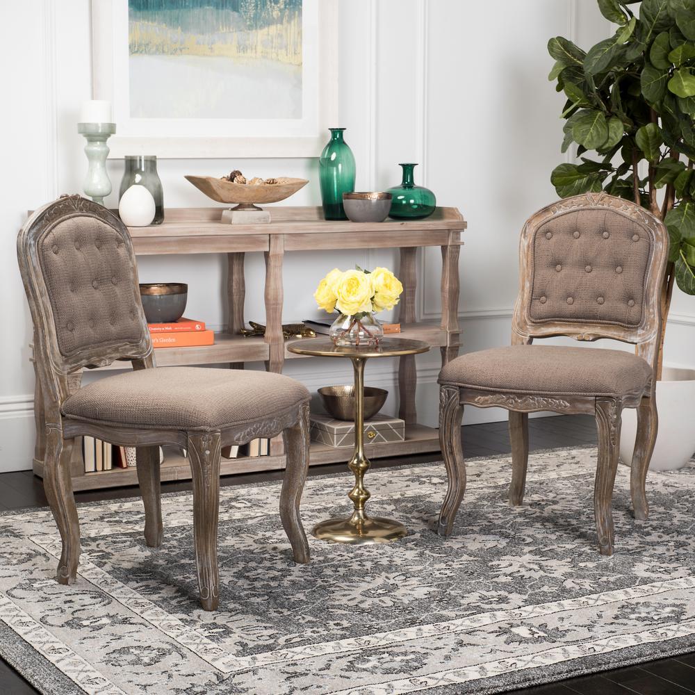safavieh eloise dark brown rustic oak 20 in h french leg dining chair set of 2 fox6264c set2. Black Bedroom Furniture Sets. Home Design Ideas