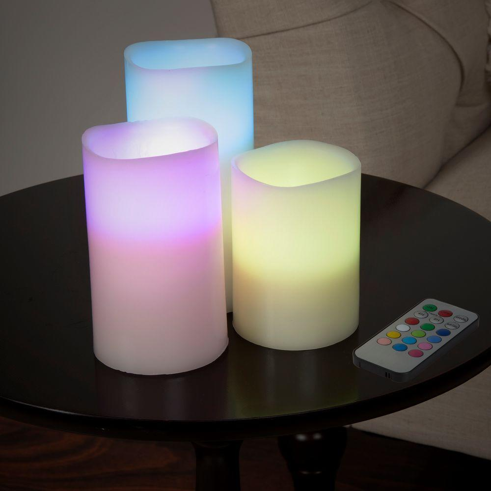 Lavish Home Lavish Home 6 in. H Color Changing LED Flameless Candle Set with Remote (3-Piece), Multi-color