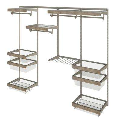Closet Culture 16 in. x 96 in. W x 78 in. H Wire Closet System with 4 Shelves and Driftwood Fascia