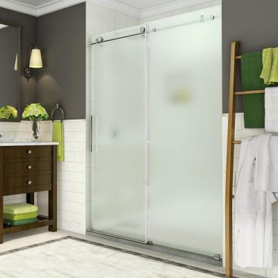 Coraline 56 in. to 60 in. x 76 in. Frameless Sliding Shower Door with Frosted Glass in Stainless Steel