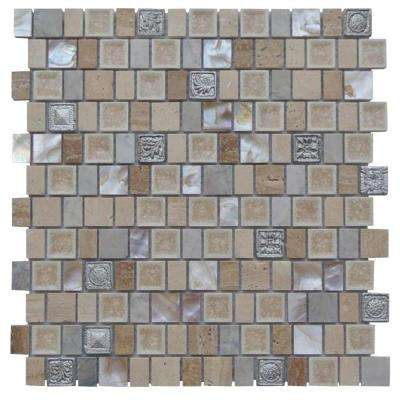 Charm II Gold Cream Glass and Stone Floor and Wall Tile - 3 in. x 6 in. Tile Sample