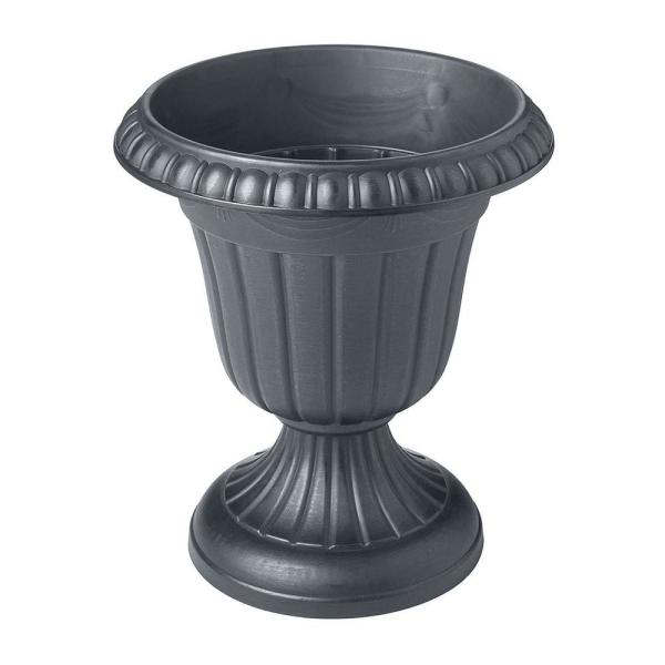 Traditional 10 in. x 12 in. Gray Plastic Urn