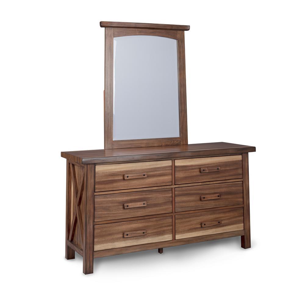 Forest Retreat 19 in. Brown Teak Wood Dresser and Mirror