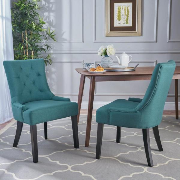 Noble House Hayden Dark Teal Fabric Dining Chair Set Of 2 10728 The Home Depot