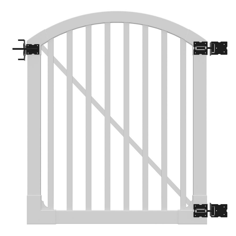 h premium vinyl yard and pool gate with powder coated stainless steel the home depot