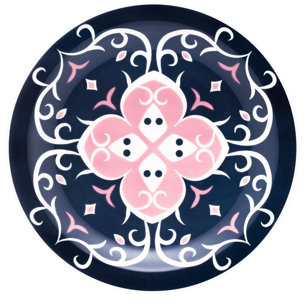Manhattan Comfort 10.04 in. Floreal Blue and Pink Dinner Plates (Set of 6) was $69.99 now $37.7 (46.0% off)