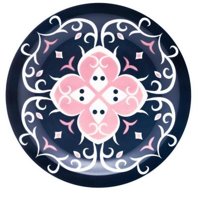 10.04 in. Floreal  Blue and Pink Dinner Plates (Set of 6)