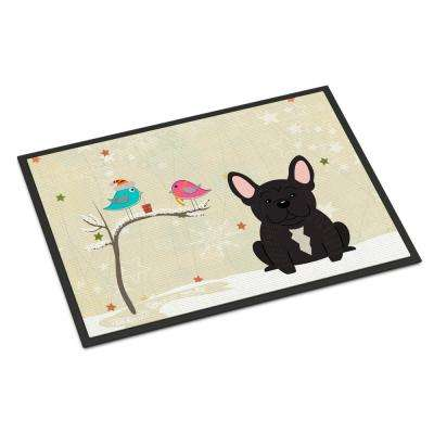 18 in. x 27 in. Indoor/Outdoor Christmas Presents between Friends French Bulldog Brindle Door Mat
