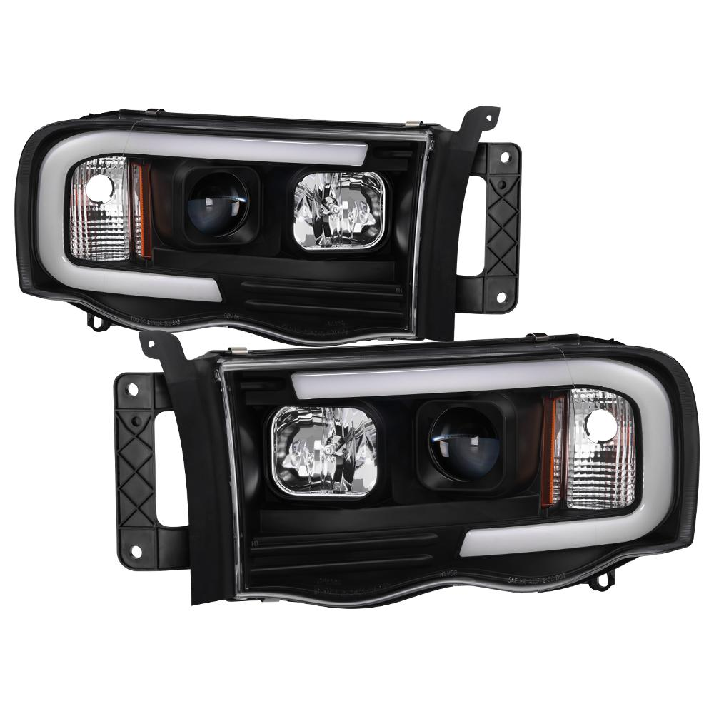 Dodge Ram 1500 02 05 2500 3500 03 Light Bar Projector Headlights Black