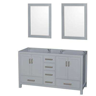 Sheffield 60 in. Vanity Cabinet with Mirrors in Gray