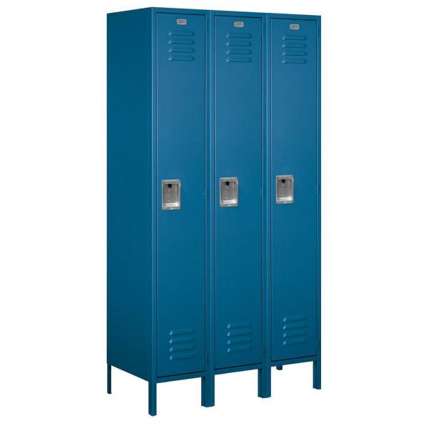 51000 Series 45 in. W x 78 in. H x 18 in. D Single Tier Extra Wide Metal Locker Unassembled in Blue