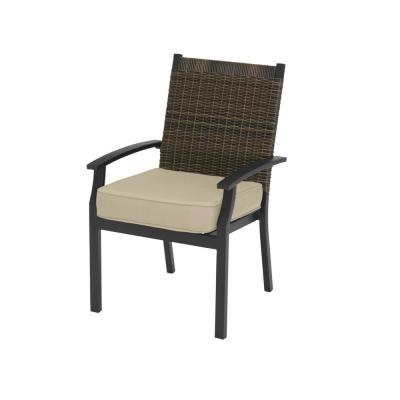 Jasper Ridge Galvanized Steel Wicker Back Stationary Outdoor Patio Dining Chair with Standard Tan Cushion (2-Pack)