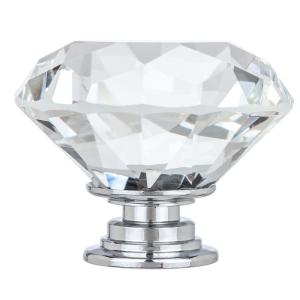 Kingsman Crystal Series 1-5/8 in. (41 mm) Dia Clear K9 Crystal with Chrome Base Cabinet Knob (50-Pack)
