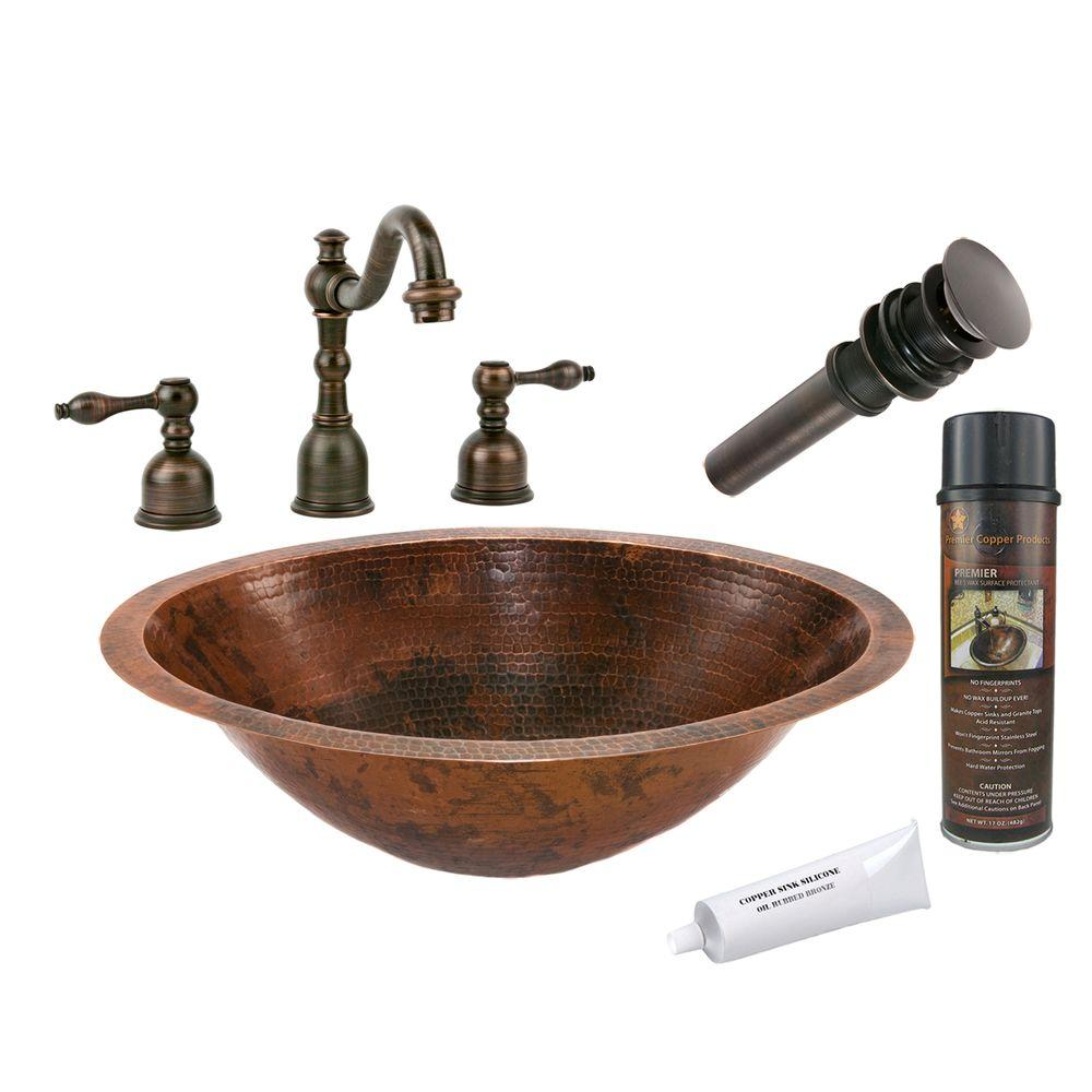 Premier Copper Products All-in-One Master Bath Oval Under Counter Hammered Copper Bathroom Sink in Oil Rubbed Bronze