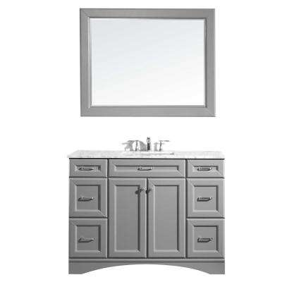 Naples 48 in. W x 22 in. D x 36 in. H Vanity in Grey with Marble Vanity Top in White with White Basin and Mirror