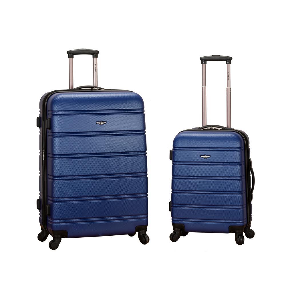 Rockland Melbourne Expandable 2-Piece Hardside Spinner Luggage Set, Blue