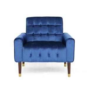 Bourchier Modern Glam Button Tufted Navy Blue Velvet Armchair with Waffle Stitching