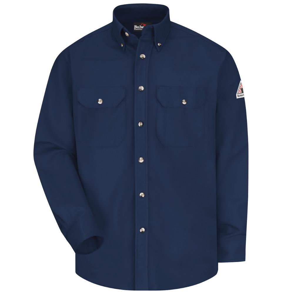 Bulwark Size 2X Light Blue Denim Cotton Long Sleeve Flame Resistant Shirt With Button Closure