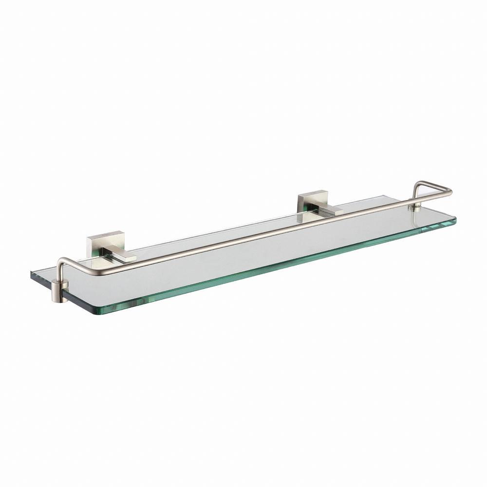 Aura Bathroom Shelf with Railing in Brushed Nickel