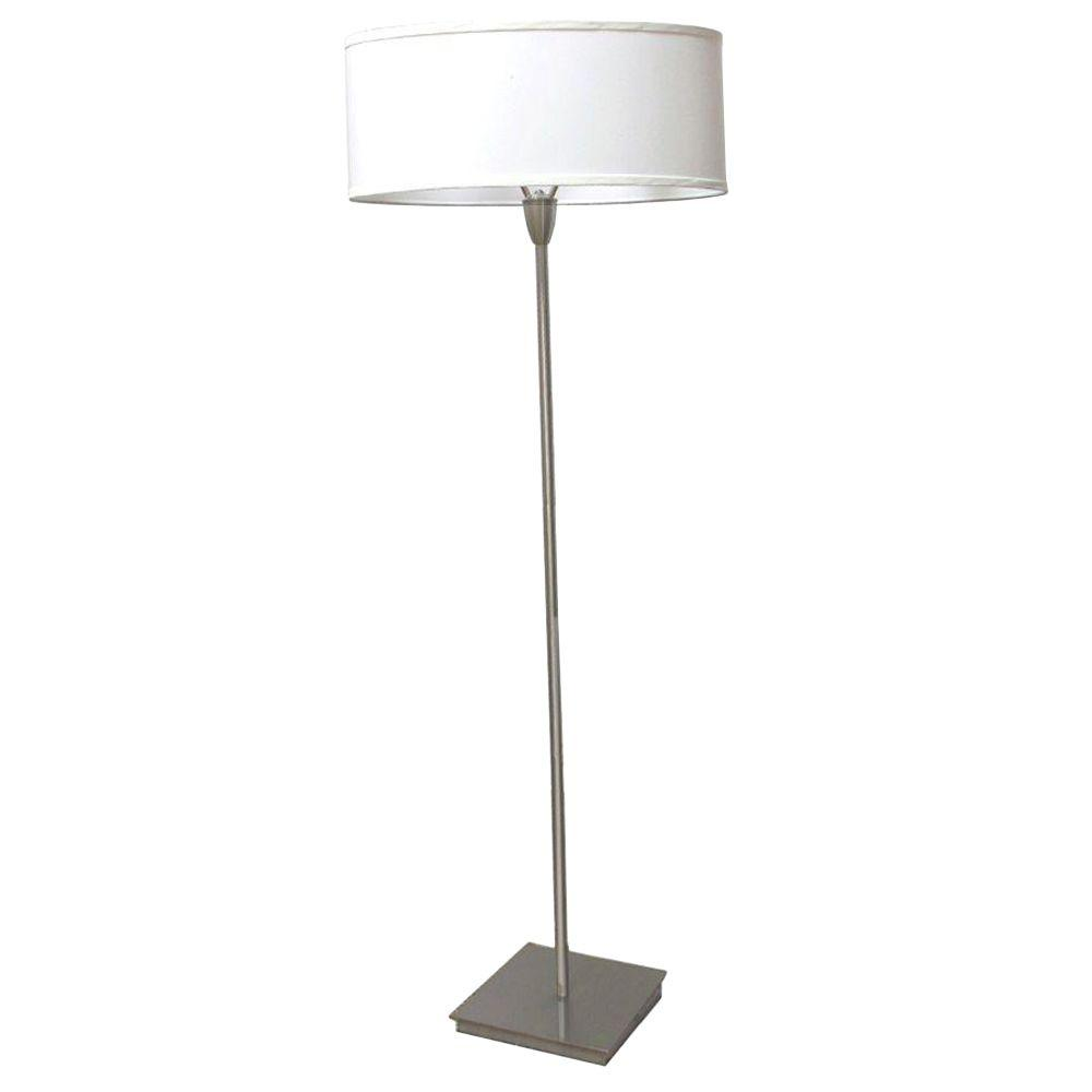 ORE International 62 In. Oval Shade Accent Brushed Nickel Floor Lamp