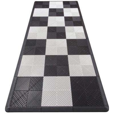 4.3 ft. x 9.6 ft. White Checkered Motorcycle Pad Ribtrax Modular Tile Flooring (36 sq. ft.)