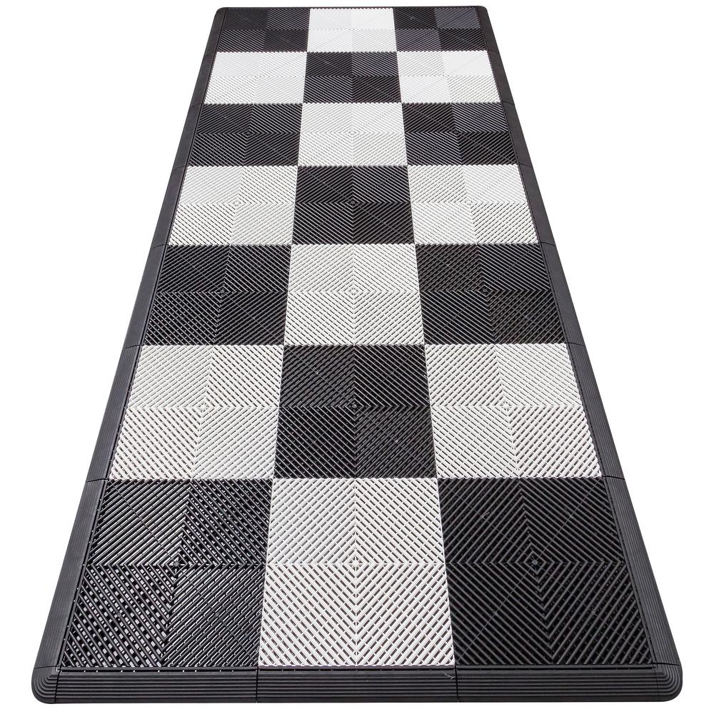 White Checkered Motorcycle Pad Ribtrax Modular Tile Flooring