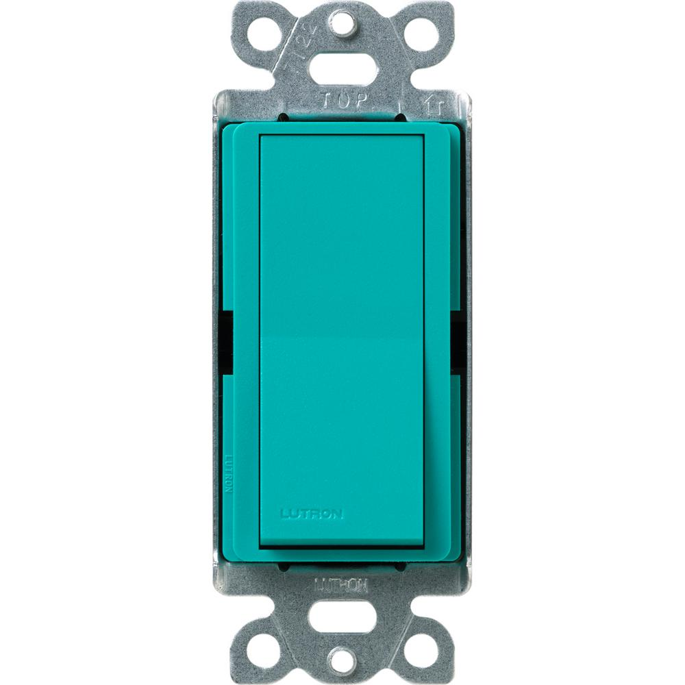 Lutron Diva Satin Colors 15 Amp 4 Way Switch Turquoise Sc 4ps Tq To Light