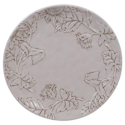 Toile Rooster Ceramic Embossed Round Platter