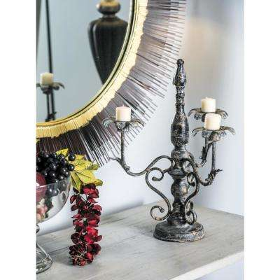 Distressed Gray Floral Scrollwork 3-Light Iron Candelabra