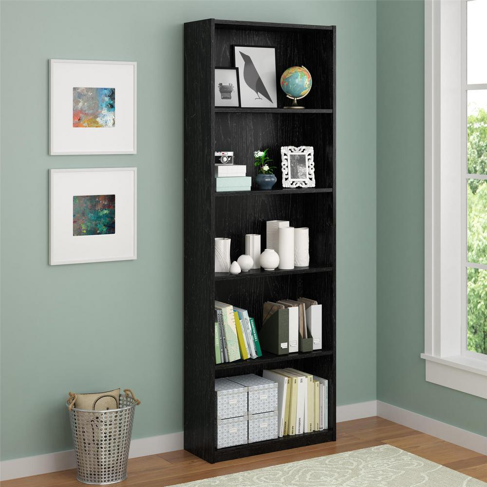 Altra Furniture Core Black Ebony Ash Open Bookcase 9425026pcom The Home Depot