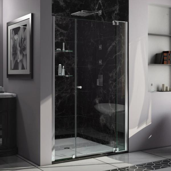 Allure 42 in. to 49 in. x 73 in. Semi-Frameless Pivot Shower Door in Chrome