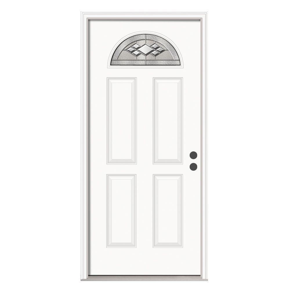 36 in. x 80 in. Fan Lite Kingston Primed Steel Prehung Left-Hand Inswing Front Door w/Brickmould