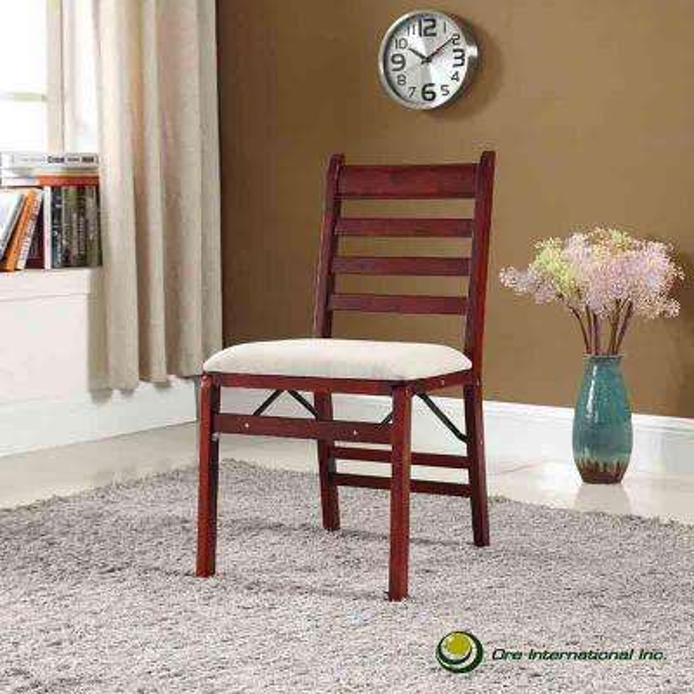 35 in. Dark Walnut Folding Chair (Set of 2)