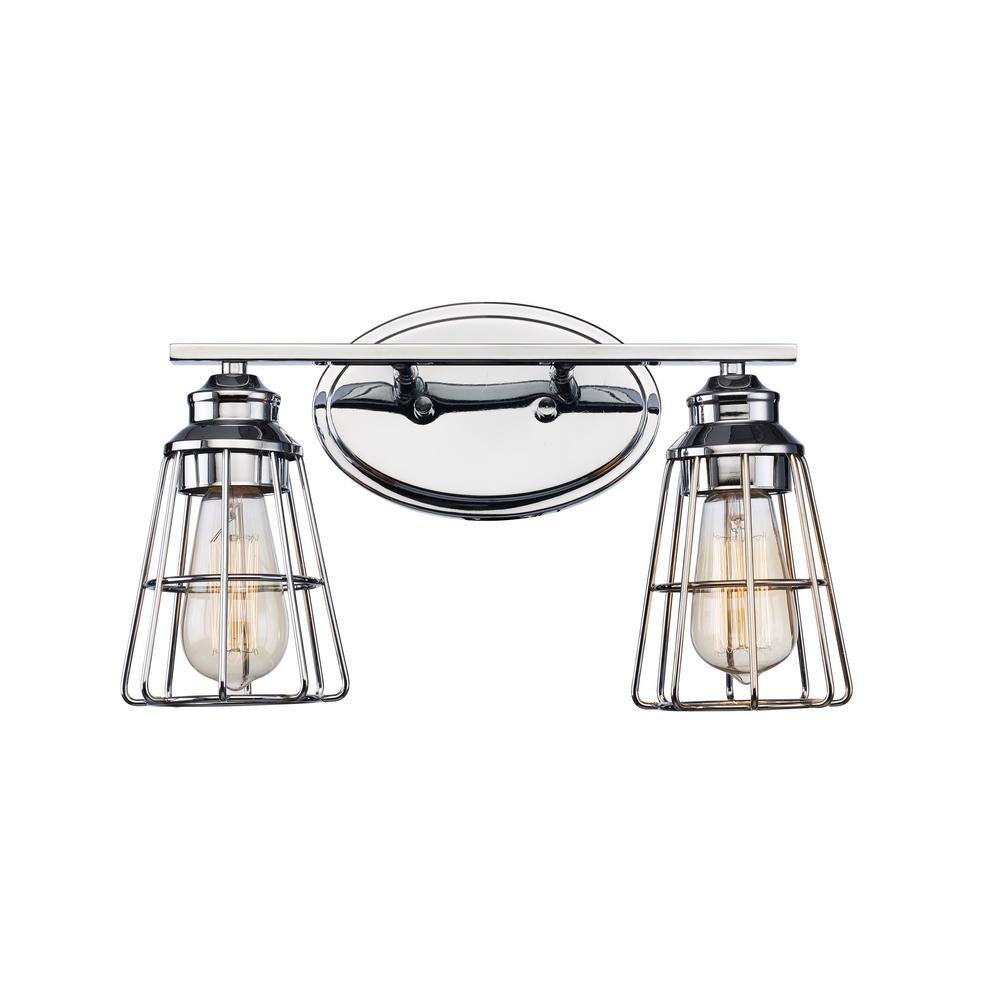 8 in. 2-Light Polished Chrome Vanity Light