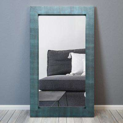 80 in. x 48 in. Black on Blue Metallic Shagreen Leather Framed Beveled Mirror
