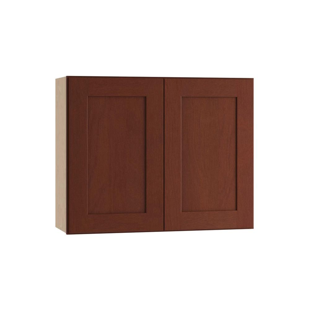 Kingsbridge Assembled 30x24x12 in. Double Door Wall Kitchen Cabinet in Cabernet