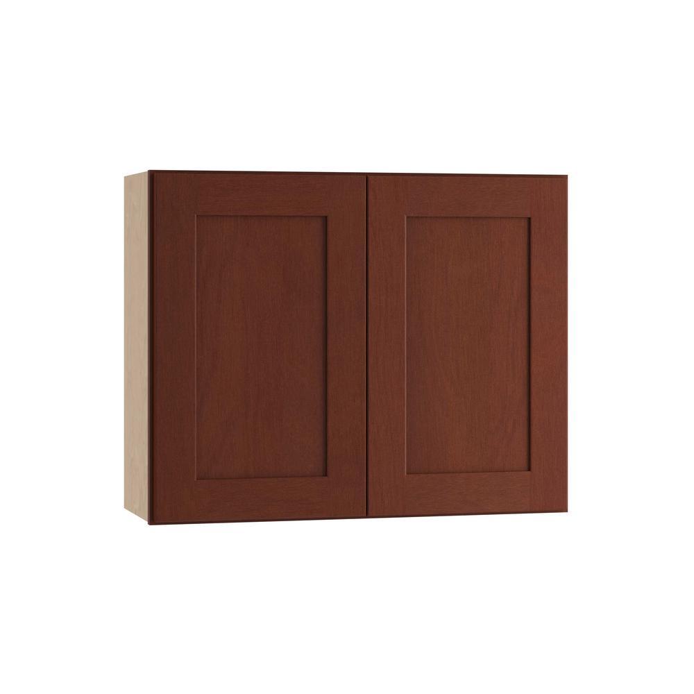 Kingsbridge Assembled 36x24x12 in. Double Door Wall Kitchen Cabinet in Cabernet